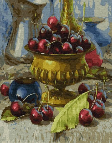 Фото Картины на холсте по номерам, Букеты, Цветы, Натюрморты KGX 34251 Чаша с черешнями Картина по номерам на холсте 40х50см