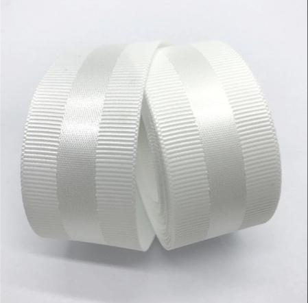 Фото Новинки Репсовая  лента  40  мм. с  атласной  полоской  ,  цвет  Белый .