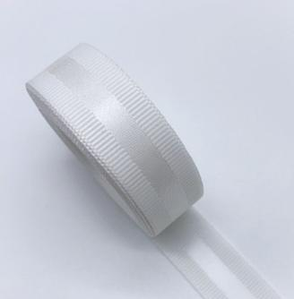 Фото Ленты, Ленты  VIP  класса. Репсовая  лента  25  мм. с  атласной  полоской  ,  цвет  Белый .