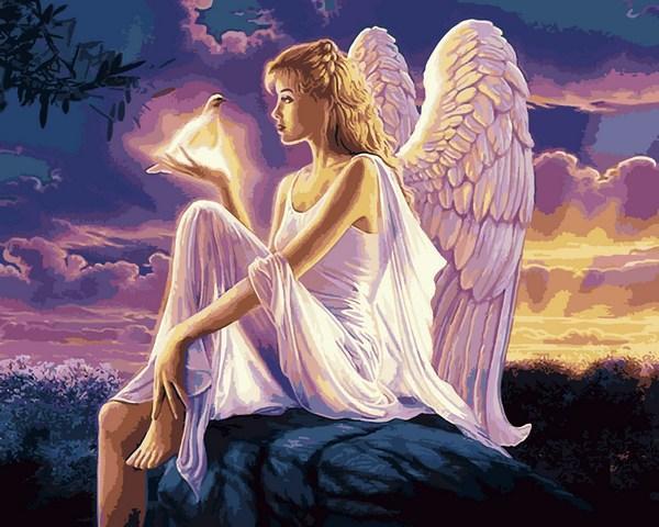 Фото Картины на холсте по номерам, Романтические картины. Люди VP 1144 Ангел с голубкой Картина по номерам на холсте 40х50см