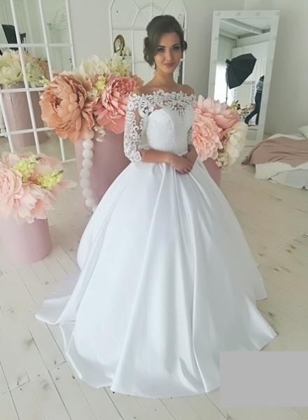 Атласное свадебное платье с кружевными рукавами Алина3 атлас