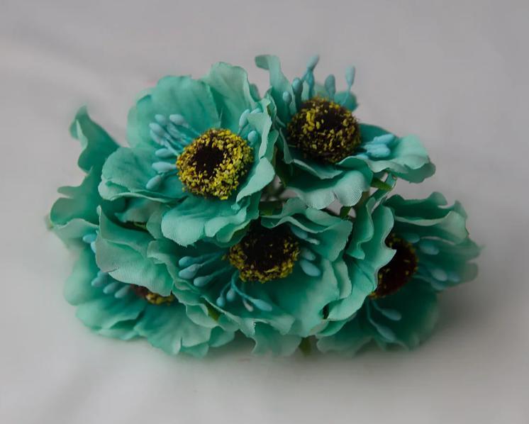 Фото Цветы искусственные, Цветы тканевые Дикий мак ,  Бирюзового  цвета , цветок  4 см , материал ткань.  Упаковка  6 шт.