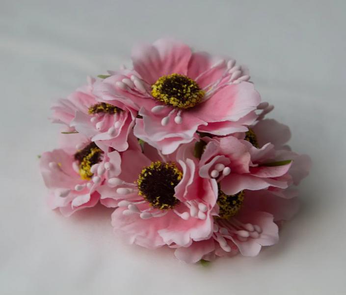 Фото Цветы искусственные, Цветы тканевые Дикий мак ,  Розового  цвета , цветок  4 см , материал ткань.  Упаковка  6 шт.