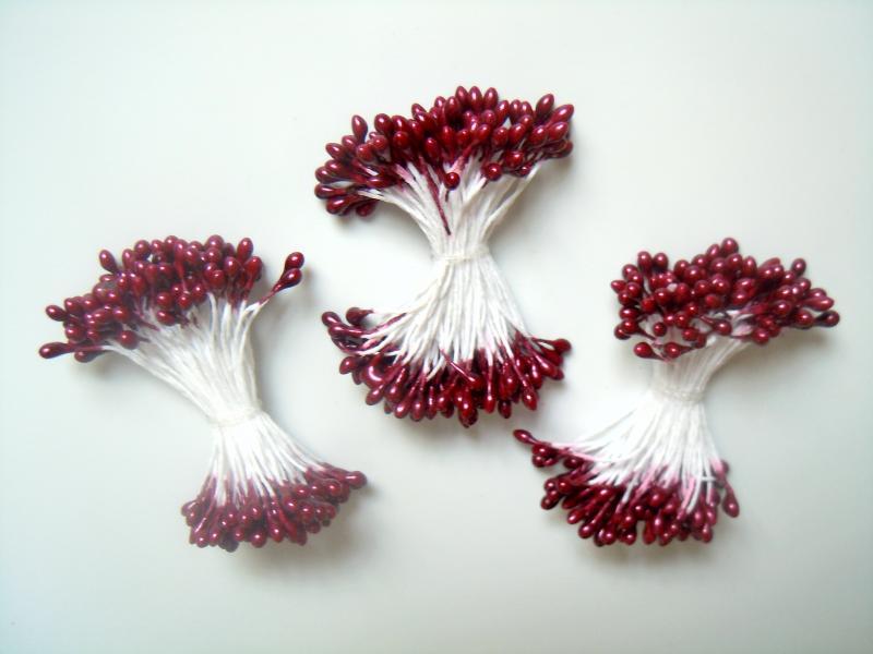 Фото Тычинки , добавки,ягодки Тычинка  духсторонняя   2,5 * 4 мм.  Вишнёво - Бордовая