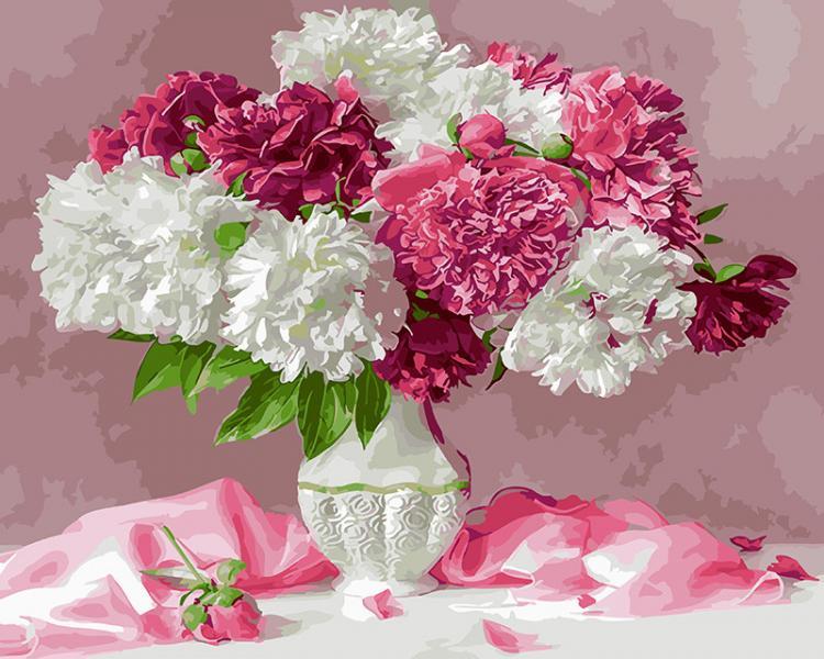Фото Картины на холсте по номерам, Букеты, Цветы, Натюрморты KGX 25351 Розовый натюрморт с пионами Роспись по номерам на холсте 40х50см