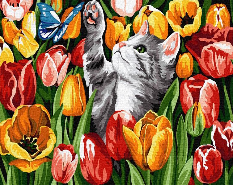 Фото Картины на холсте по номерам, Животные. Птицы. Рыбы... KGX 27243 Котенок в тюльпанах Картина по номерам на холсте 40х50см