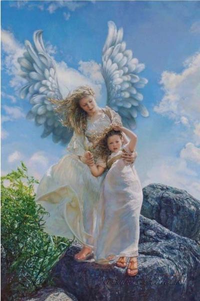 Фото Картины на холсте по номерам, Дети на картине GX 27565 Объятия ангела Роспись по номерам на холсте 40х50см без коробки, в пакете
