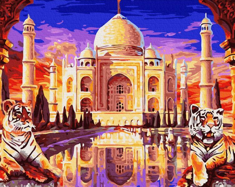 Фото Картины на холсте по номерам, Городской пейзаж KGX 27511 Тадж-Махал з охраной Картина по номерам на холсте 40х50см