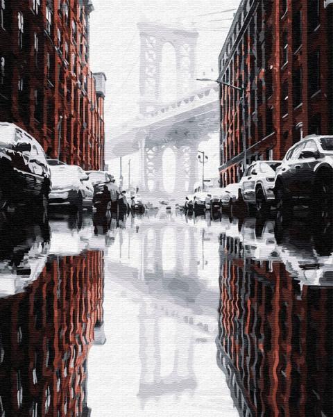 Фото Картины на холсте по номерам, Городской пейзаж GX 28878 Город после дождя Картина по номерам на холсте 40х50см, без коробки