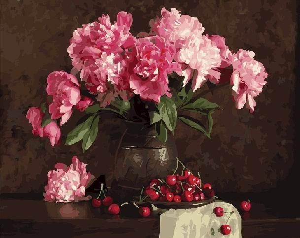 Фото Картины на холсте по номерам, Букеты, Цветы, Натюрморты KGX 4645 Пионы и вишни Картина по номерам 40х50см
