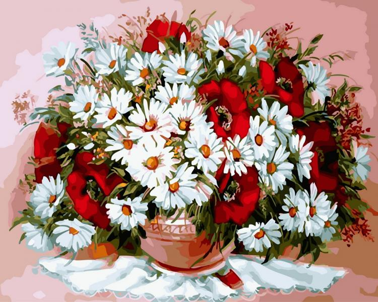 Фото Картины на холсте по номерам, Букеты, Цветы, Натюрморты KGX 29467 Маки и ромашки 2 Картина по номерам на холсте 40х50см в коробке
