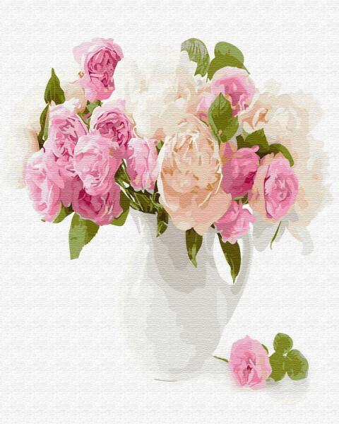 Фото Картины на холсте по номерам, Букеты, Цветы, Натюрморты KGХ 29428 Нежный букет цветов Картина по номерам на холсте 40х50см