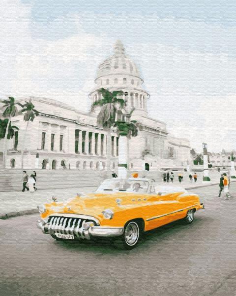Фото Картины на холсте по номерам, Городской пейзаж GX 28889 Кубинское ретро Картина по номерам на холсте 40х50см без коробки, в пакете