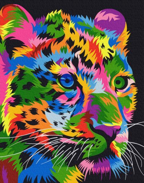 Фото Картины на холсте по номерам, Картины  в пакете (без коробки) 50х40см; 40х40см; 40х30см, Животные, птицы, рыбы GX 29956 Пятнистый леопард Картина по номерам на холсте 40х50см, без коробки