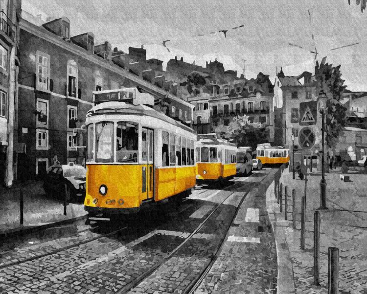 Фото Картины на холсте по номерам, Городской пейзаж KGX 32130 Желтый трамвай на старинных улицах Картина по номерам на холсте 40х50см