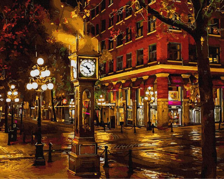 Фото Картины на холсте по номерам, Городской пейзаж GX 34122 Осеннее время Картина по номерам на холсте 40х50см, без коробки