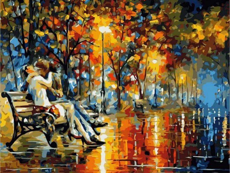 Фото Картины на холсте по номерам, Романтические картины. Люди KGX 6389 Осенний поцелуй Картина по номерам на холсте 40х50см