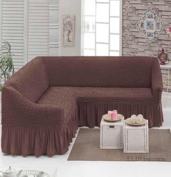 Чехол для углового дивана (коричневый)
