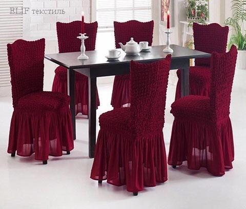 Фото Чехлы для мягкой мебели, Чехол для стульев Чехол для стульев  6 штук (бордовый) Турция