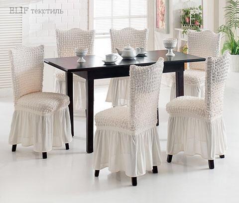 Чехол для стульев 6 штук (белый)