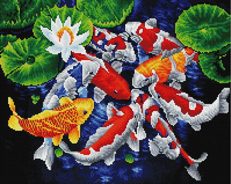 Фото  GF 3703 Карпы кои Набор для творчества алмазная живопись 40х50 см