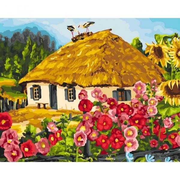 Фото Картины на холсте по номерам, Загородный дом KHO 2286 Живописный пейзаж Роспись по номерам на холсте (без коробки) 40х50см