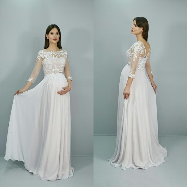 Недорогое свадебное платье с рукавами Дарья