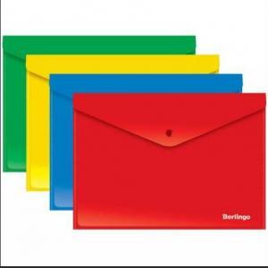Фото Папки, файлы, планшеты, портфели, сумки (ЦЕНЫ БЕЗ НДС), Папки с прижимами, зажимами, на пружинах, на молнии Папка-конверт на кнопке Berlingo, А4, 180мкм, ассорти