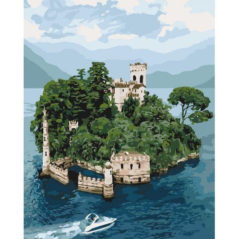 Фото Картины на холсте по номерам, Морской пейзаж KH 3564 Таинственный остров Картина по номерам на холсте 40х50см