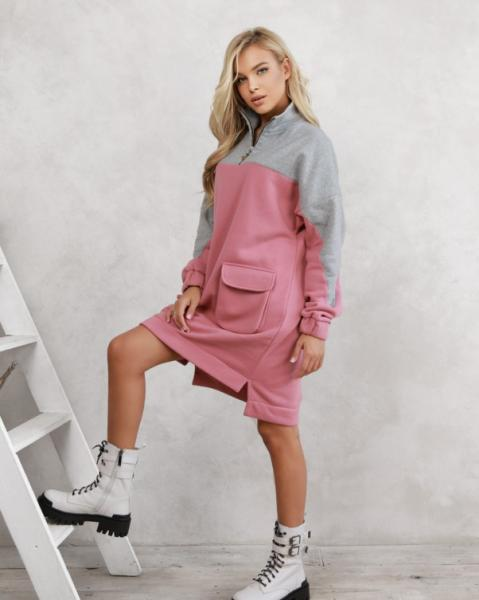 Фото  Платья ISSA PLUS 12289  XL серый/розовый
