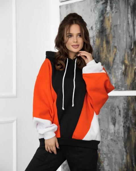 Фото  Толстовки ISSA PLUS 12261  XL черный/оранжевый