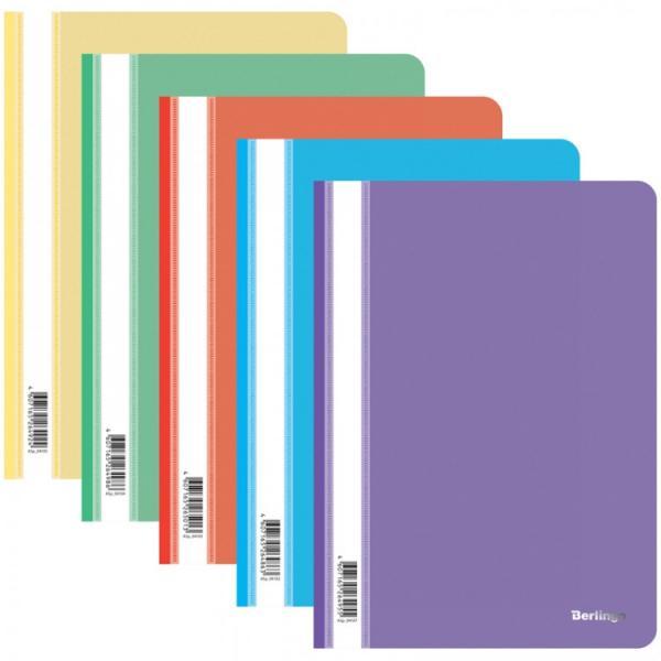 Папка-скоросшиватель пластик. А4 Berlingo, 180мкм, ассорти с прозр. верхом