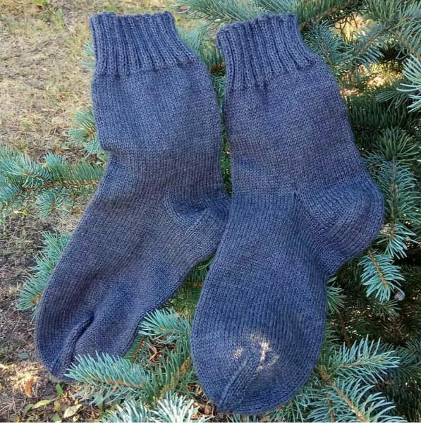 Мужские шерстяные серые носки 24 размер. Вязание на заказ, вязаная спица