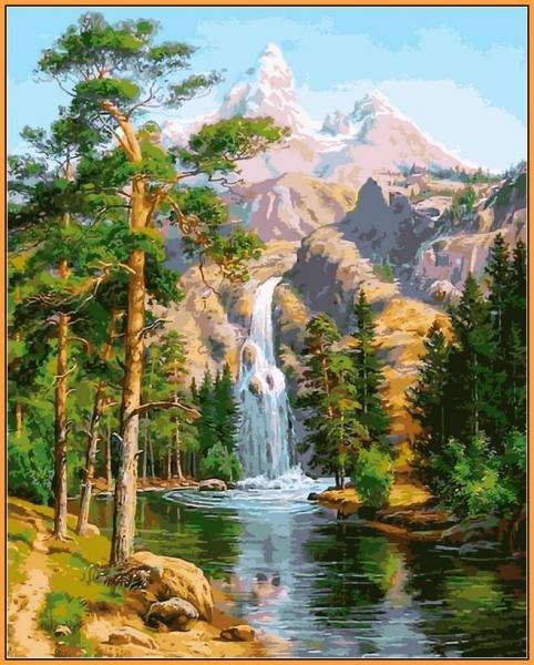 Фото  NBR 957 Водопад в сосновом лесу  Babylon Premium 40x50см (цветной холст в раме)