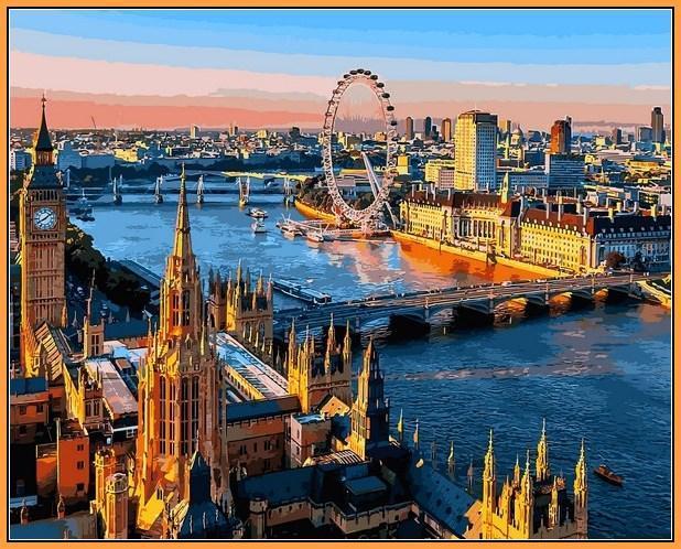Фото  NBR 1089 Лондон Вид на Темзу (цветной холст в рамке)  Premium 40x50см