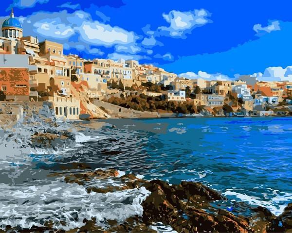 Фото Картины на холсте по номерам, Морской пейзаж VP 1248 Греция Картина по номерам на холсте 40х50см