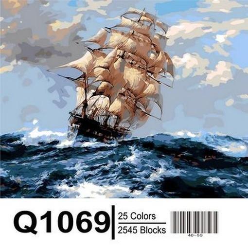 Фото Картины на холсте по номерам, Морской пейзаж Q1069