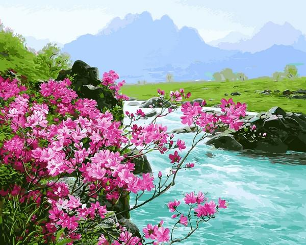 Фото Картины на холсте по номерам, Букеты, Цветы, Натюрморты VP1137 Горные цветы Картина по номерам на холсте 40х50см