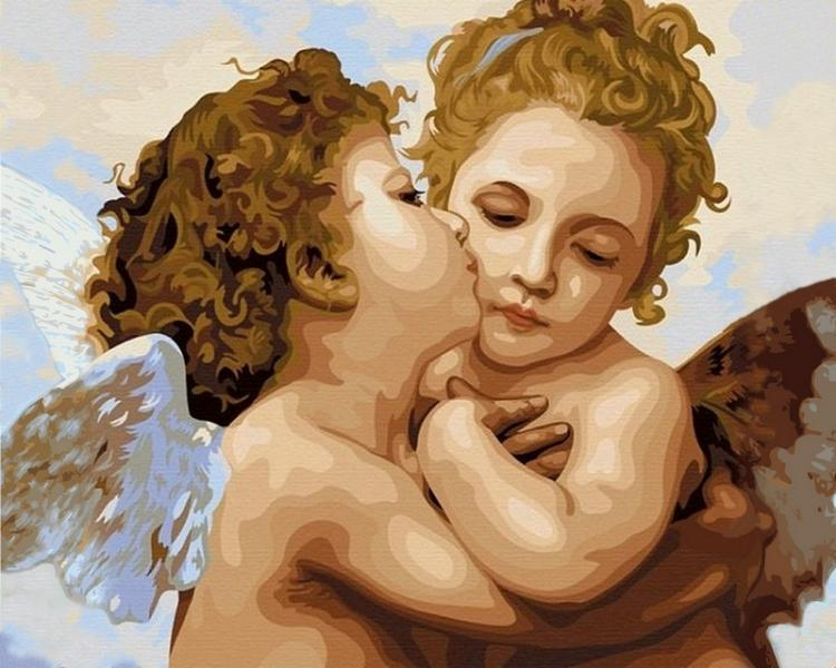 Фото Картины на холсте по номерам, Дети на картине VP 430 Поцелуй Ангела Картина по номерам на холсте 40х50см