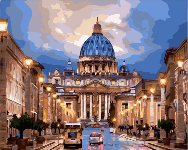 Фото Картины на холсте по номерам, Городской пейзаж GX 21612 Собор Святого Петра Картина по номерам на холсте 40х50см без коробки, в пакете
