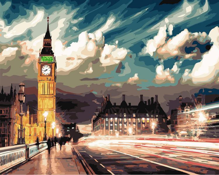 Фото Картины на холсте по номерам, Городской пейзаж KGX 22077 Сумерки над Лондоном Роспись по номерам на холсте 40х50см в коробке