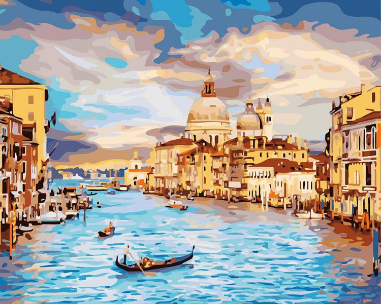 Фото Картины на холсте по номерам, Городской пейзаж KGX 22296 Небесная Венеция Роспись по номерам на холсте 40х50см