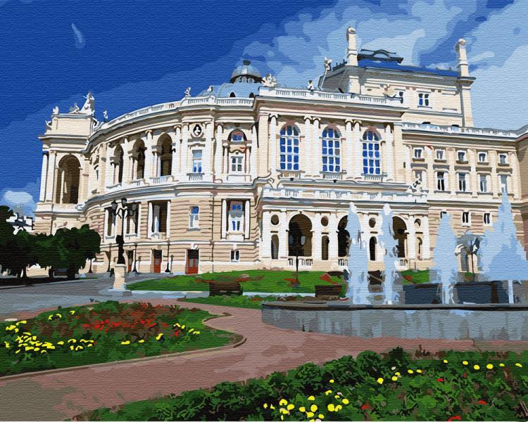 Фото Картины на холсте по номерам, Городской пейзаж KGX 30156 Одесский театр оперы и балета Картина по номерам  40х50см в коробке