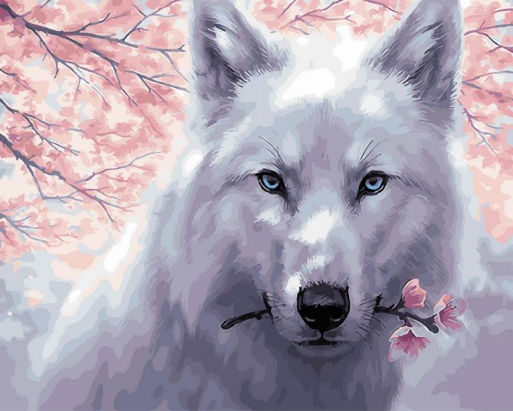 Фото Картины на холсте по номерам, Животные. Птицы. Рыбы... KGX 29952 Белый волк Картина по номерам на холсте 40х50см