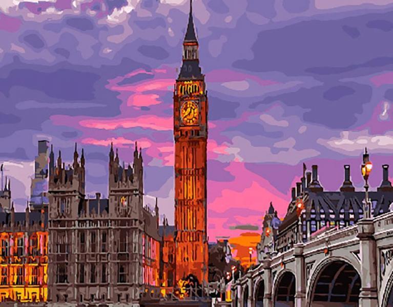 Фото Картины на холсте по номерам, Городской пейзаж KGХ 29764 Лондон на закате Картина по номерам на холсте 40х50см