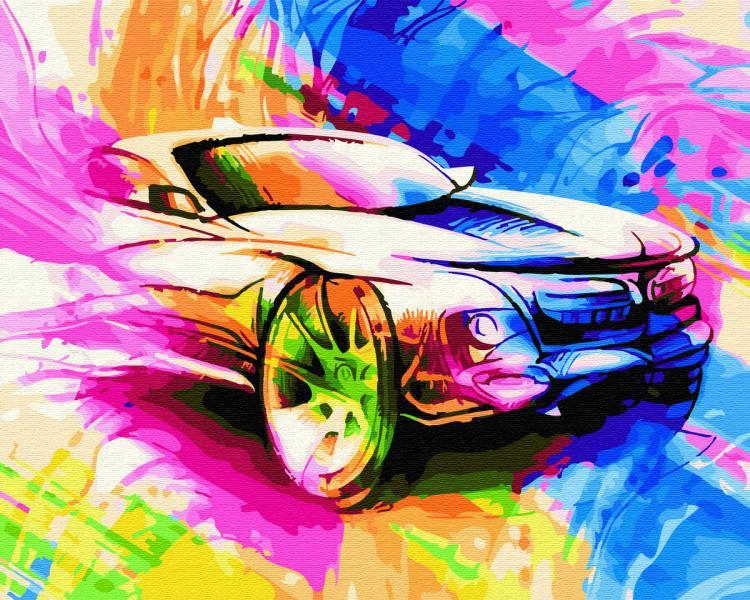 Фото Картины на холсте по номерам, Городской пейзаж KGX 28116 Авто в красках. Картина по номерам на холсте в коробке 40х50см