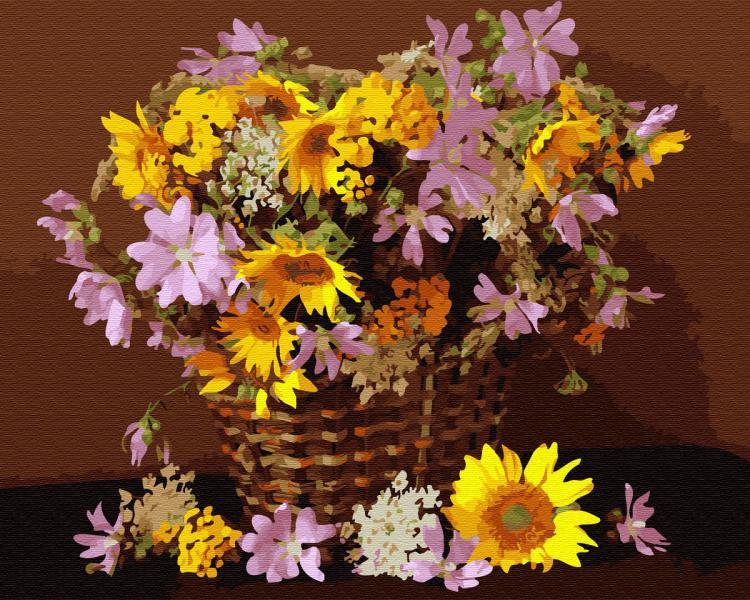 Фото Картины на холсте по номерам, Букеты, Цветы, Натюрморты KGX 34025 Цветочная корзина Картина по номерам на холсте 40х50см