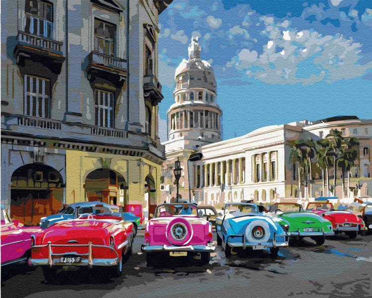 Фото Картины на холсте по номерам, Городской пейзаж KGX 33775 Ретро авто на выставке Картина по номерам на холсте 40х50см