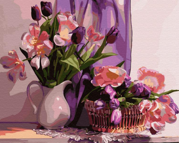 Фото Картины на холсте по номерам, Букеты, Цветы, Натюрморты KGX 30956 Дома у музы Картина по номерам на холсте 40х50см