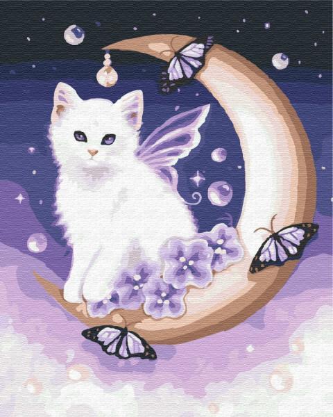 Фото Картины на холсте по номерам, Животные. Птицы. Рыбы... KG 140 Лунный котик Картина по номерам на холсте 40х50см